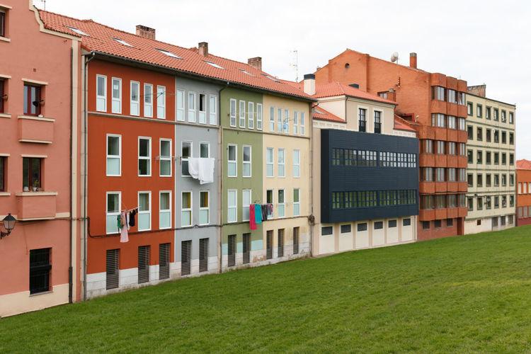 Residential buildings against clear sky