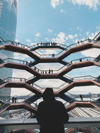 Staircase Hudsonyards Hudsonyardnewyork Hudsonyardnewyork Hudson Yards Real People Sky Rear View Leisure Activity Architecture Lifestyles Men One Person Day Low Angle View Cloud - Sky Women Outdoors Built Structure Nature Standing Silhouette