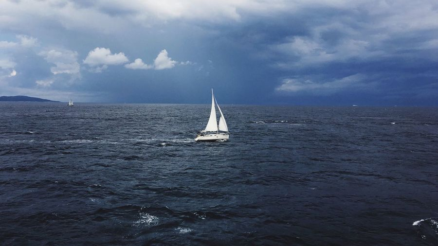 My Favorite Place Sea Sailboat Horizon Over Water Sailing Boat Journey Seascape