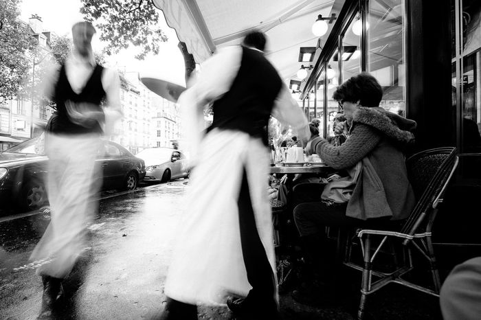 France Paris Cafe Sidewalk Activity Busy Waiters  Diners Black & White Timeless Classic Business Restaurant Dining European  Cosmopolitan