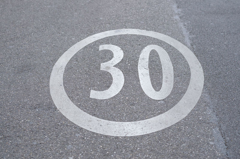 High angle view of numbers on city street