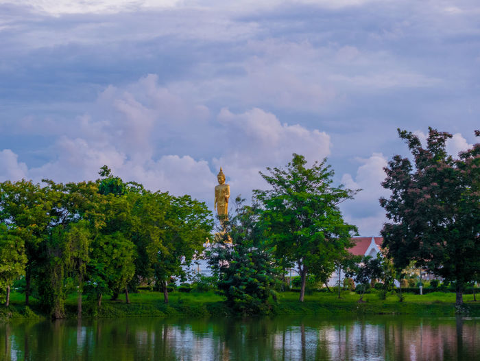 Thai view Plant Tree Sky Cloud - Sky Water Beauty In Nature Growth Nature Reflection Lake Day Tranquility Scenics - Nature Waterfront Tranquil Scene No People Green Color Outdoors Environment Pollution