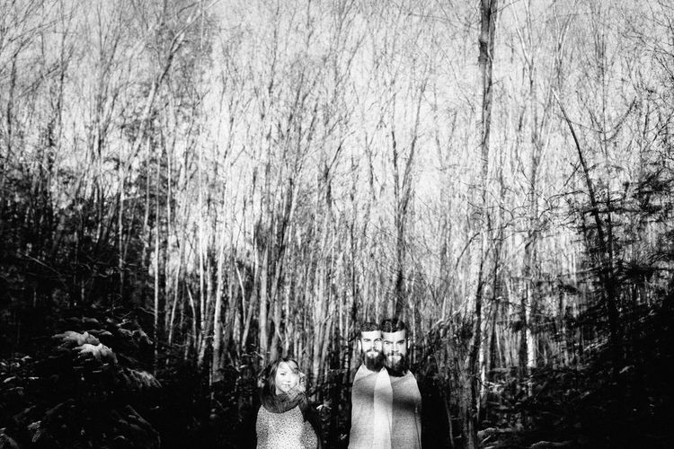 Rear view of people standing on bare trees in forest