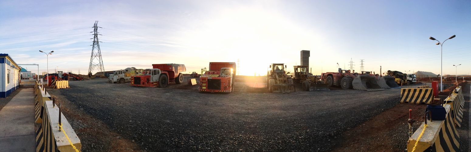 Morning View Beautiful Sunrise Mining Before Work