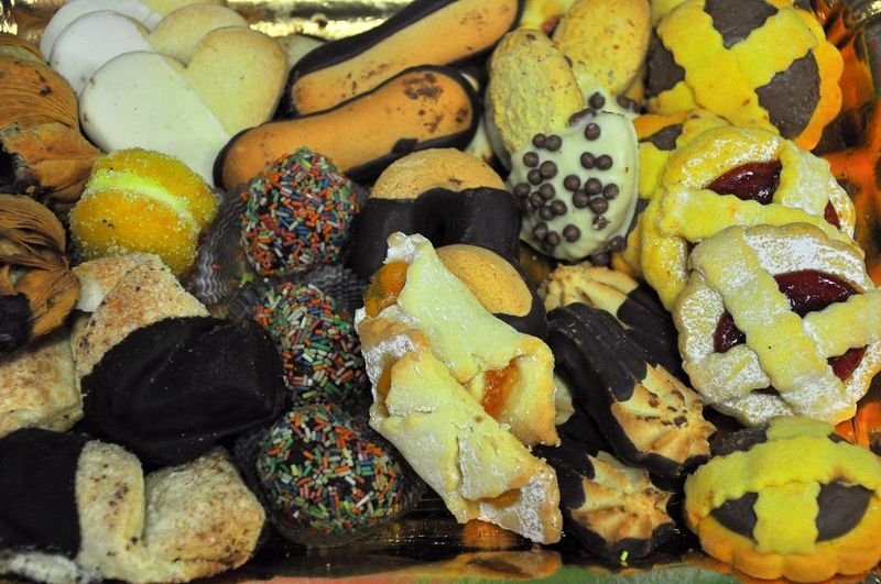 Close-Up Of Variety Of French Pastry