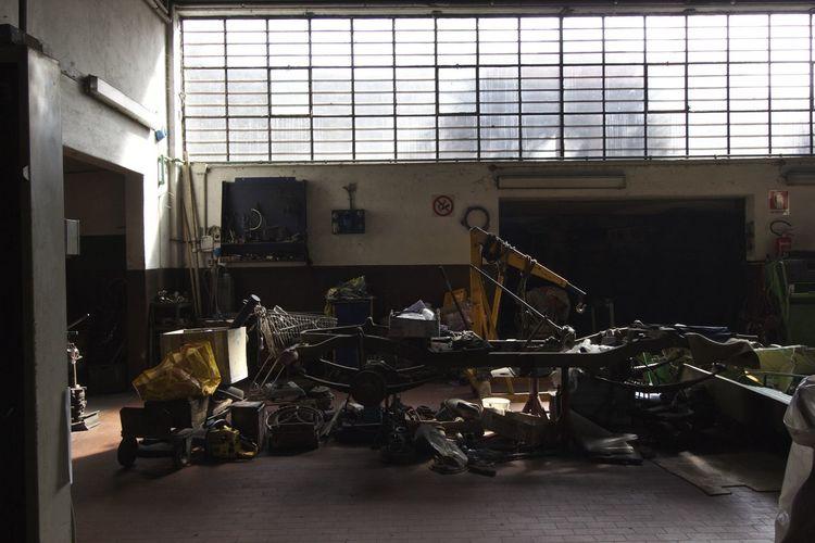 Built Structure Damaged Garage Indoors  Mechanic Morning Light No People Workshop