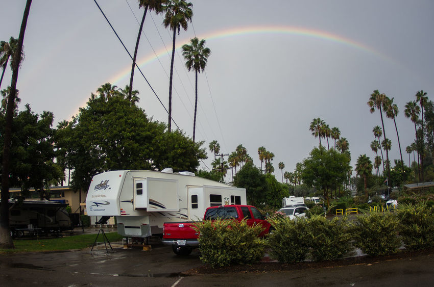 Camping under a rainbow Vacation Travelong Travel Trailer Rving Rv Park Motorhome Lifestyles Fun Fifth Wheel Carefree Camping Campground Transportation Outdoors EyeEm Best Shots Yvon Bourque