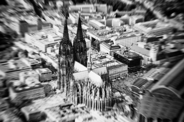 Helicopter View  Kölner Dom Cologne Cologne Cathedral Cathedral Black And White Black & White City City View  Cityscape Creativity Creative Photography Architecture Built Structure Building Exterior Selective Focus Building No People Day Blurred Motion Motion Outdoors Street High Angle View Nature Full Frame Auto Post Production Filter