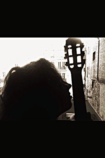 I'm Inlove with my Guitar ... Taking Photos Enjoying Life Black And White Music PlayingGuitar Pinkfloyd Ledzeppelin Relaxing