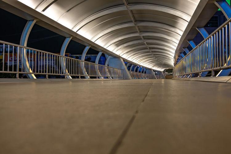 Surface level of empty underground walkway