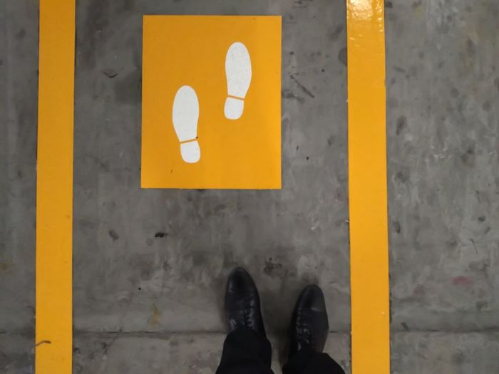 Sign Standing Traffic Look Downwards Yellow