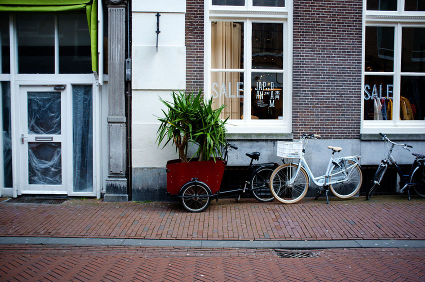 Colors Haarlem Noord Holland X100 Architecture Bicycle Bicycle Rack Building Exterior Built Structure Day Fujifilm_xseries Land Vehicle Mode Of Transport No People Outdoors Plant Potted Plant Stationary Streetphotography Transportation Window Window Box