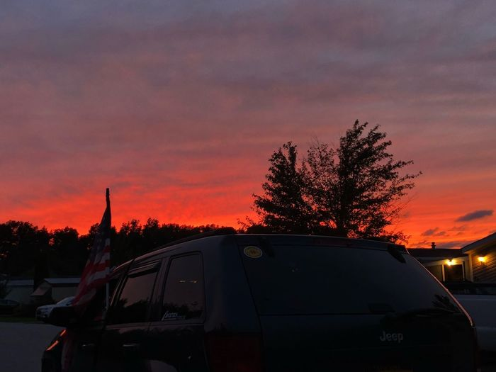 First night of fall Sunset Car Mode Of Transportation Motor Vehicle Sky Transportation Land Vehicle Orange Color Tree Plant Cloud - Sky Nature Road Dusk Travel Illuminated Street No People Outdoors Beauty In Nature