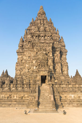 Prambanan temple near Jogyakarta in central Java, Indonesia. This is a Hindu temple complex. Ancient Ancient Civilization Archaeology Architecture Building Exterior Built Structure Clear Sky Day Hinduism History INDONESIA Java Javanese No People Old Ruin Outdoors Place Of Worship Religion Sky Spirituality Tourism Travel Travel Destinations Yogjakarta Yogyakarta
