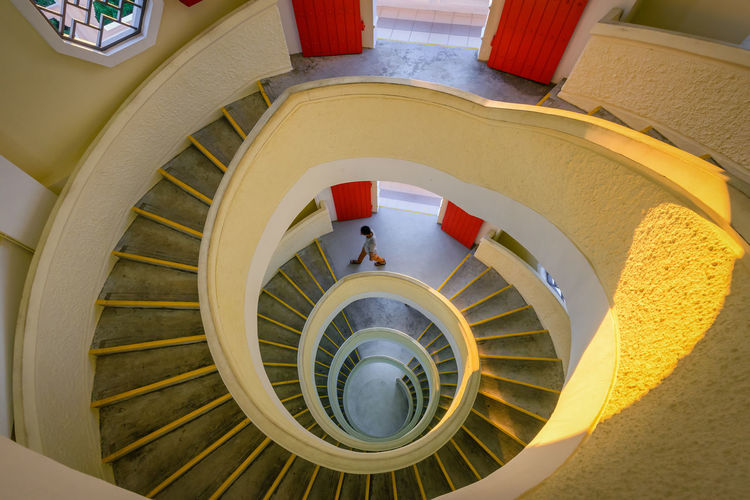 Looking down Stairs Travel Architecture Built Structure Chinese Garden Day Hand Rail High Angle View Indoors  Railing Singaporean Spiral Spiral Staircase Staircase Stairs Steps Steps And Staircases
