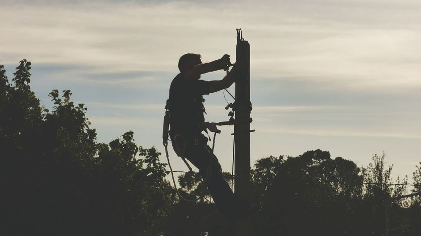 Silhouette Only Men One Man Only Working Protection Full Length Standing Occupation Men People Tree Outdoors Electricity Pylon Man Working Man Working Out Electrical Equipment Electric Pole