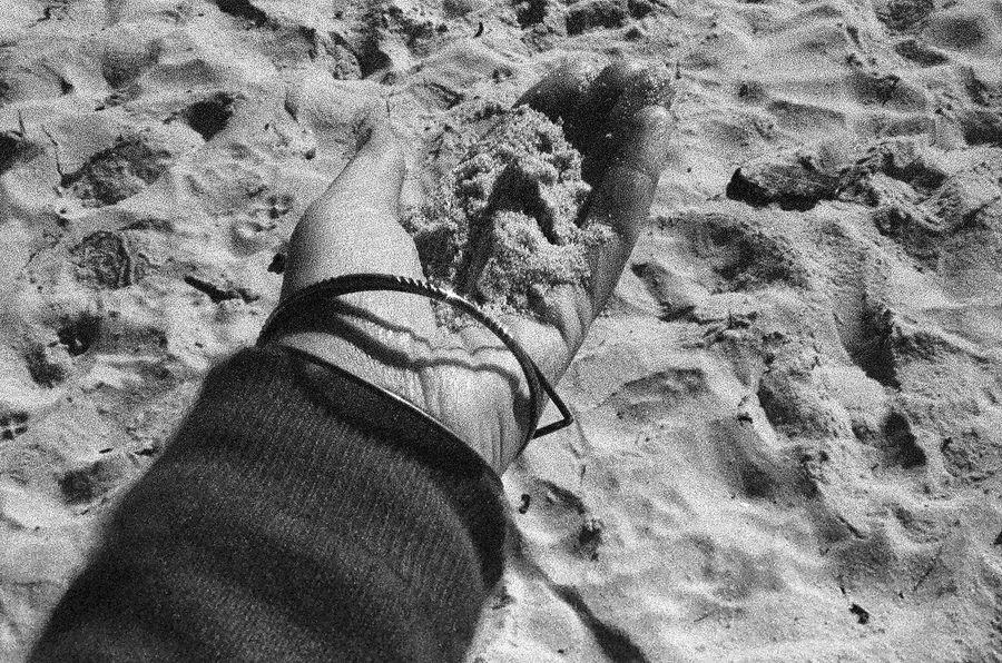 Film Personal Perspective One Person Sand NATURA Classica Carmel California Ilford Delta 3200 Koduckgirl Grainy Photo Blknwht
