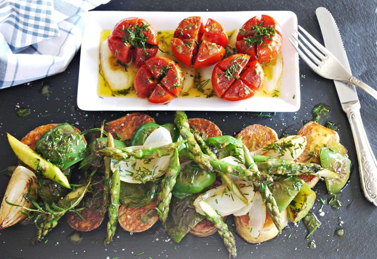 Baked Potato Close-up Day Food Food And Drink Fork Fork & Knife Freshness Gourmet Food Green Asparagus Grilled Paprica Healthy Eating High Angle View Indoors  No People Plate Ready-to-eat Serving Size Table Tomato Vegan Food Visual Feast