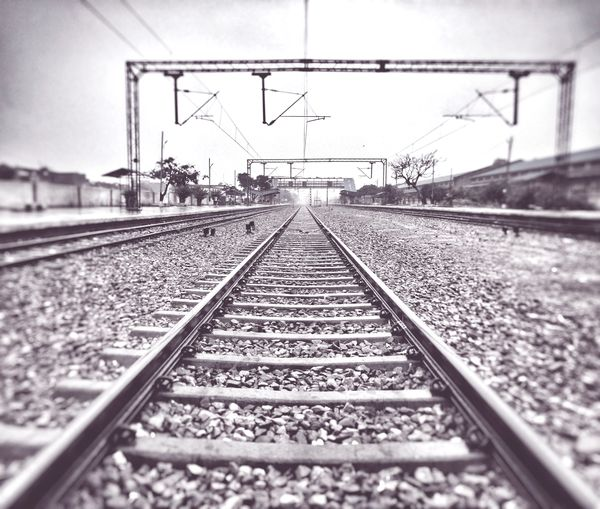 track..... Track India Ghaziabad Railroad Track Rail Transportation Sky Travel Railroad Station Platform Parallel