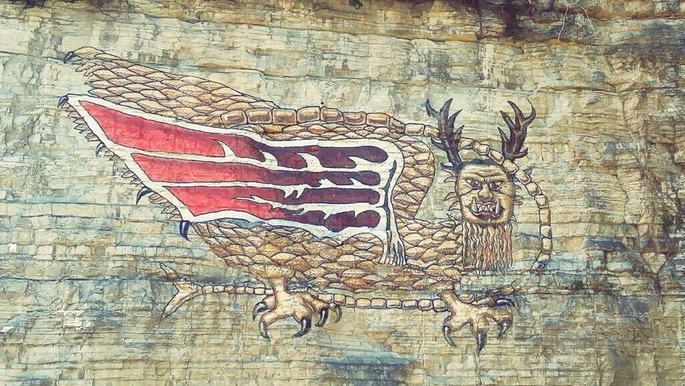 Feel The Journey PIASA Legend Alton Illinois Stone Art Carved Color Red Bird Story