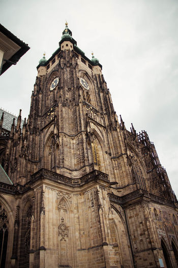 cathedral in prague Cathedral Gothic Prague Praha Renaissance Architecture Baroque Building Exterior Built Structure Clock Tower Day Historic History Low Angle View No People Outdoors Place Of Worship Religion Sky Skyisthelimit Spirituality Travel Destinations