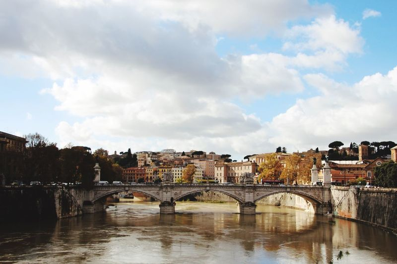 Rome, Italy Rom Bridge - Man Made Structure Architecture Built Structure Connection Arch Bridge Sky Water Cloud - Sky River Building Exterior Outdoors Day Waterfront City No People Bridge Travel Destinations