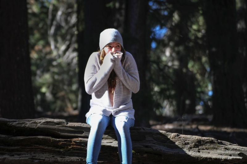 Woman In Warm Cloth Sitting On Log At Sequoia National Park