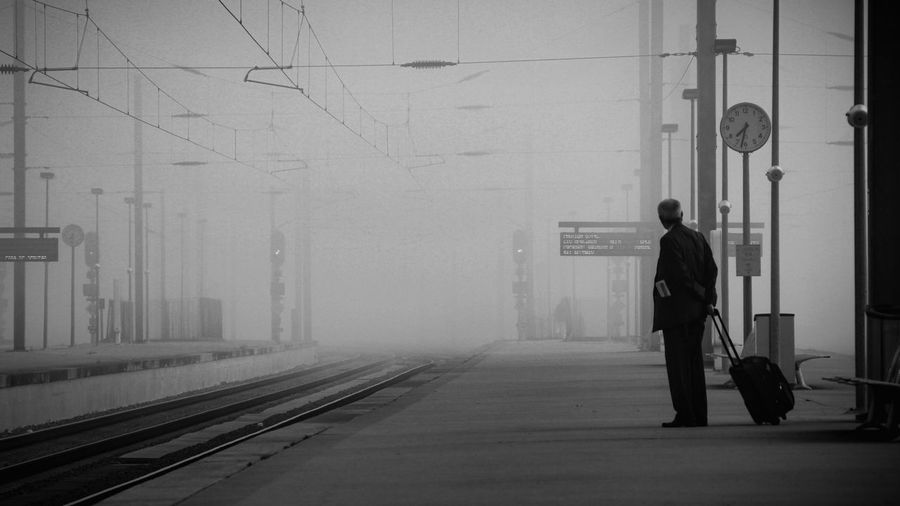Full Length One Person Real People Men Old Man Train Station Travel Waiting Blackandwhite Solitude Story Of My Life Storytelling Porto Portugal Solitude And Silence Solitary Let's Go. Together.