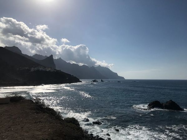 Sea Water Beauty In Nature Nature Scenics Sky Rock - Object Outdoors Tranquility Horizon Over Water Day Power In Nature Sunlight No People Mountain Wave Taganana