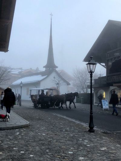 The sound of the horses I❤️Gstaad Shades Of Winter Bolonie Style Bolonie Art Promenade Bolonie Real People Built Structure Architecture Men Walking Weather Building Exterior Cold Temperature Winter Snow Outdoors Day Lifestyles Women Large Group Of People Nature Full Length Mammal Sky An Eye For Travel