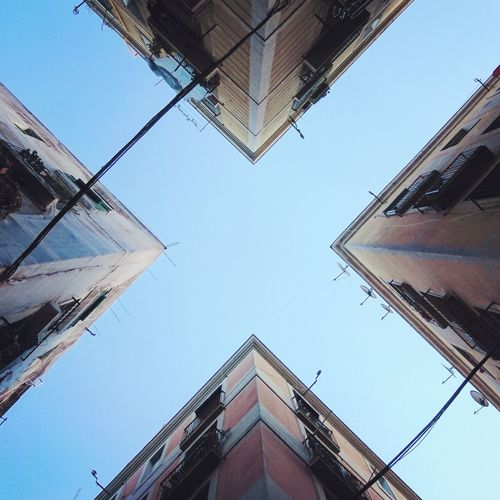 "Barcelona ""X""... Cityscape No People Outdoors Architecture Building Exterior Clear Sky Connection Day Low Angle View Reflection Symmetry Sky City Barcelona The Secret Spaces EyeEm Diversity The Architect - 2017 EyeEm Awards"
