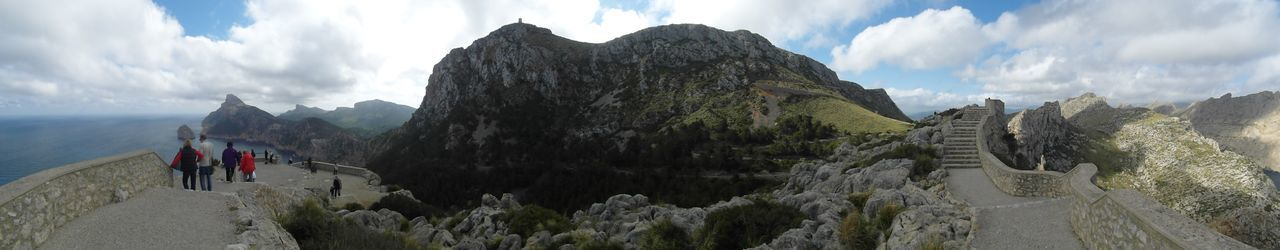 Panorama view in Cala Barques Mallorca Cloud - Sky Panoramic Sky Mountain Real People Leisure Activity The Great Outdoors - 2018 EyeEm Awards Mountain Range Hiking Nature Lifestyles Travel Beauty In Nature Day Group Of People Tranquil Scene Non-urban Scene
