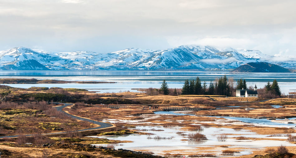 Small lakes at the famous thingvellir national park, part of the golden circle trip in iceland