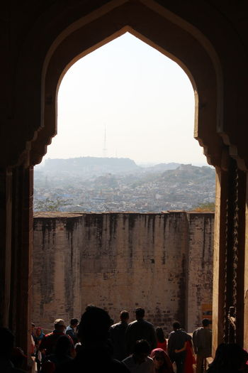 jodhpur fort gate view Gate View Cityscape Historical Building Tourist Destination Tourist Attraction  Crouded Wall Street  Sky Daylight Urban Scene Historic Architectural Column Go Higher