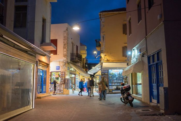 Chania old town Architecture Building Exterior Built Structure Walking Night Street Illuminated City Outdoors
