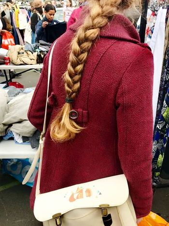 Battersea car boot sale One Person Real People Day Jacket Rear View Blond Hair Women Leisure Activity Retail  Outdoors Only Women Market Warm Clothing One Woman Only Lifestyles Adult Adults Only People Close-up One Young Woman Only London Battersea Car Boot Sale Car Boot Sale
