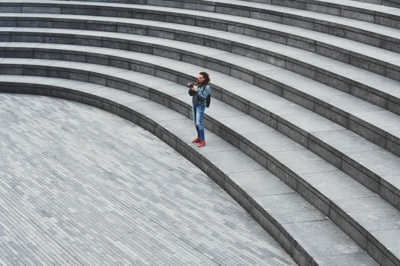 One Person Full Length Adults Only Outdoors City Architecture People Taking Pictures Standing Empty Places Alone Steps And Staircases Lifestyles London Curve Form Day
