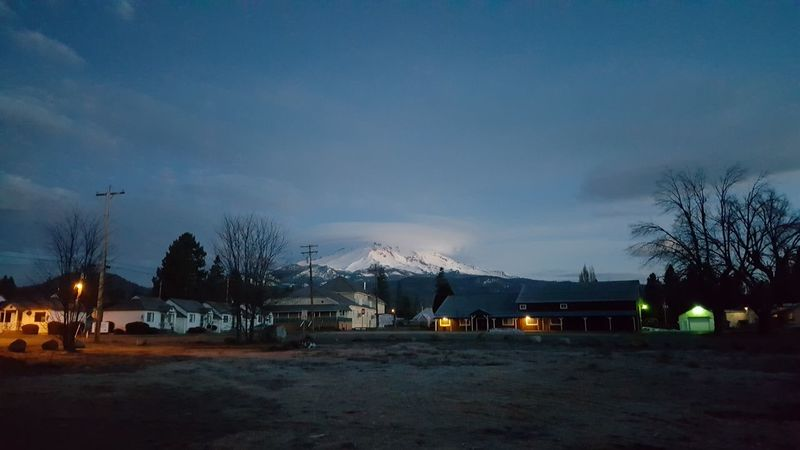 Mt Shasta Volcano Clouds And Sky Enjoying Life Good Morning Sunrise Old Town Historical Buildings