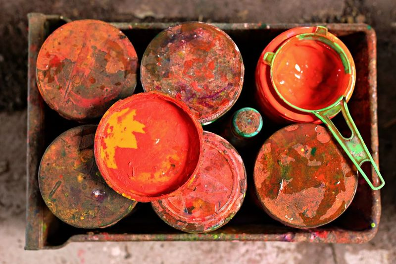 Multi colored watercolor paints in can