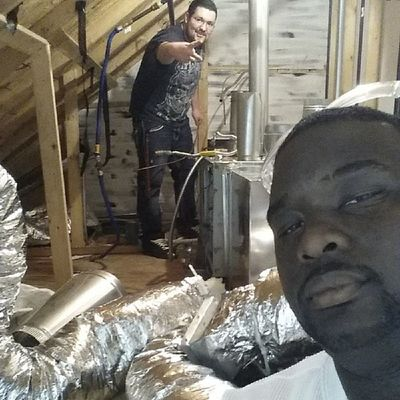 Schoolflow  HVAC in the attic with my guys @_king_swisher_ & @kdonthatrax DeltaTechnicalCollege