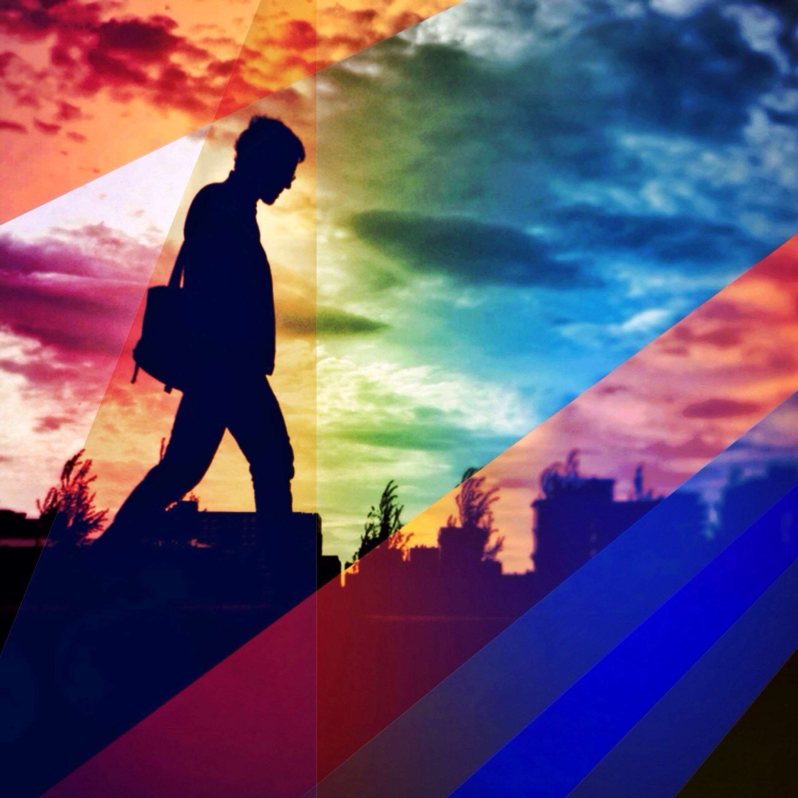 lifestyles, standing, leisure activity, silhouette, sky, full length, cloud - sky, sunset, men, three quarter length, casual clothing, person, rear view, built structure, side view, outdoors, low angle view, cloud
