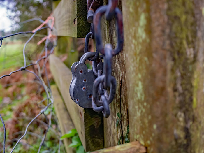 Close-up of padlock on chain