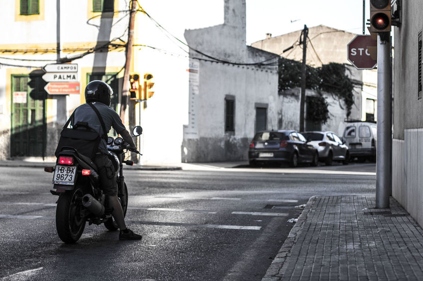 Going Nowhere Going Nowhere Fast Motorcycle Motorbike Traffic Lights Single Person Palma Palma De Mallorca Which Way? Directions