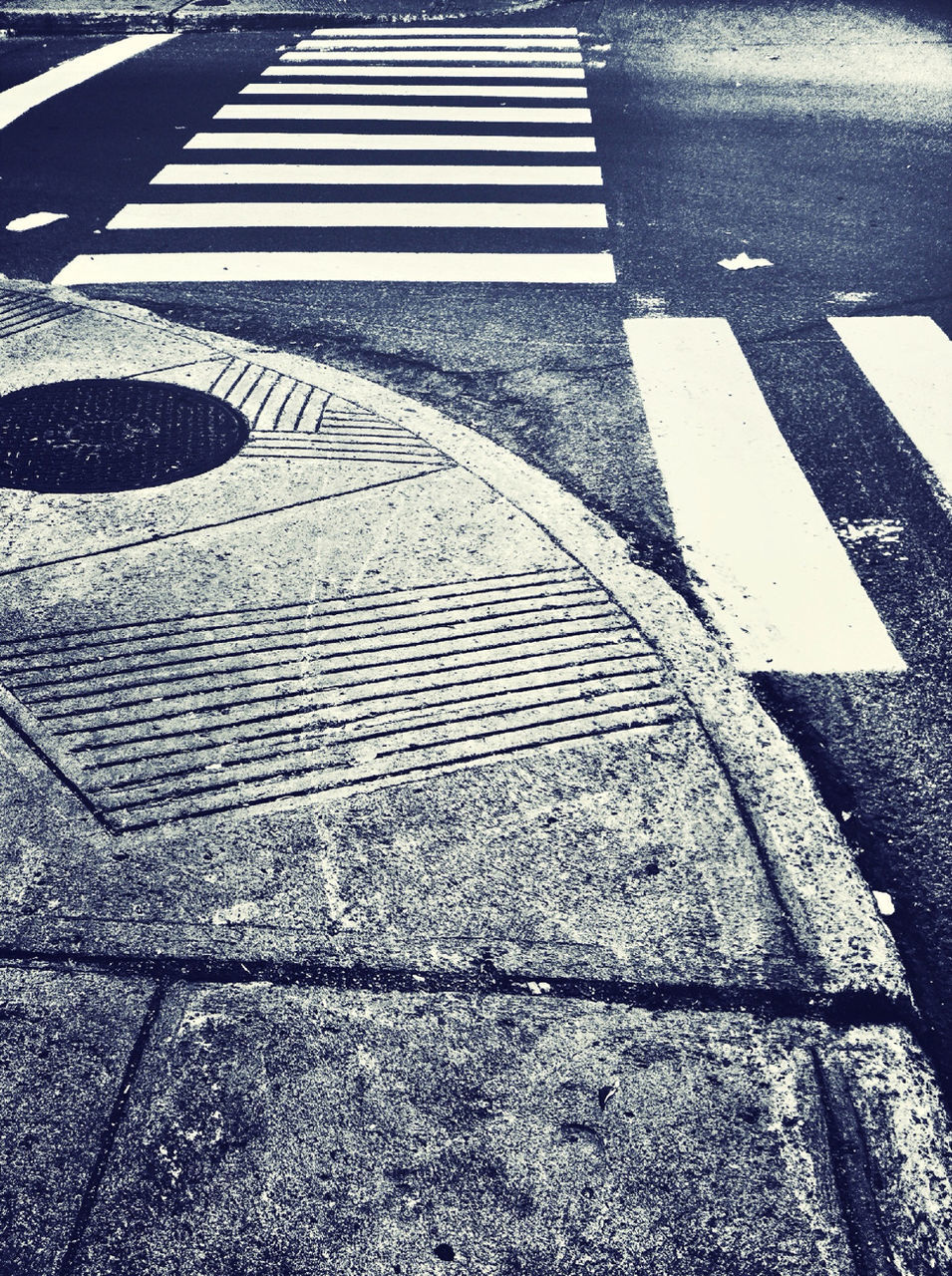 road marking, zebra crossing, road, street, asphalt, striped, transportation, white line, high angle view, outdoors, safety, day, guidance, no people, road sign, marking, zebra, city