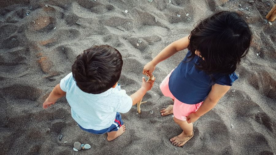 High angle view of children playing at the beach