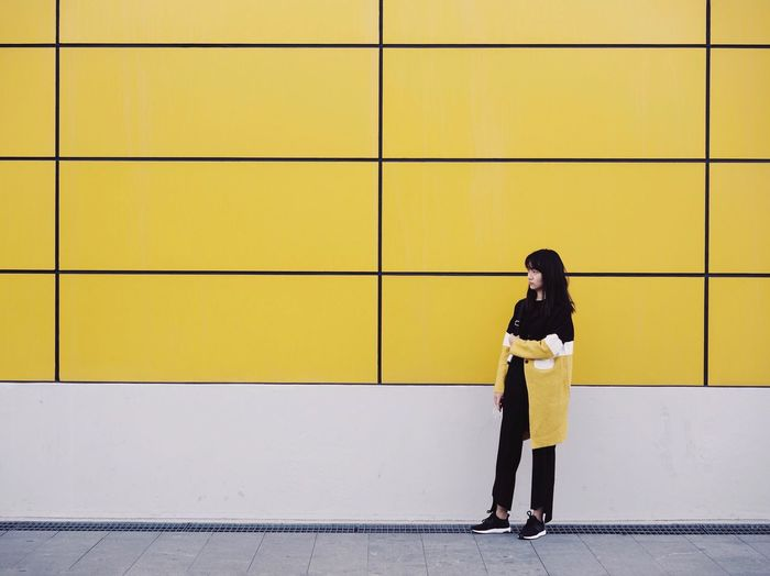Yellow Wall Architecture One Person Standing Casual Clothing Leisure Activity Lifestyles ThatsMe My Unique Style Girl Woman Street Streetphotography Street Photography Street Fashion Fashion Fashion&love&beauty IKEA