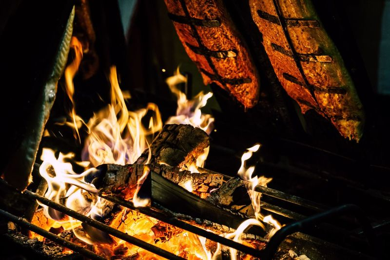 Flame Burning Heat - Temperature Glowing Night No People Outdoors Close-up Fire Pit Ash Food Fish