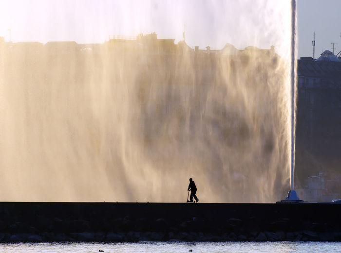 Pier and fountain on lake geneva