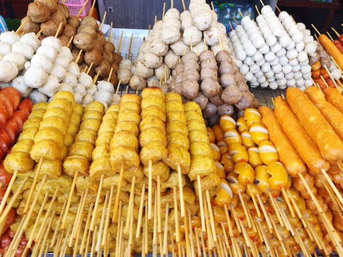 High angle view of fresh food in skewers on market stall