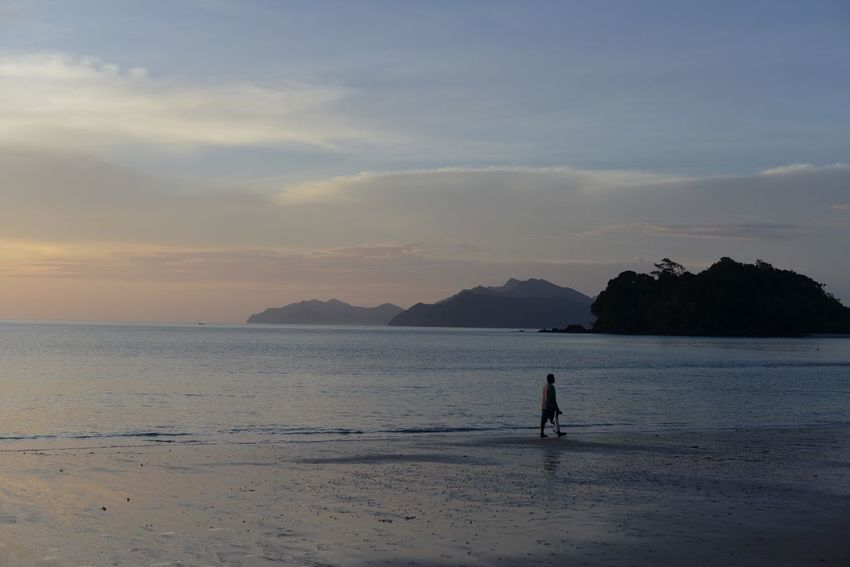 Andaman Andaman Beach Andaman Sea Beach Beauty In Nature Cloud - Sky Full Length Langkawi Langkawi Sunset One Man Only One Person Rainforest Beach Rainforest Su Sea Silhouette Sunset Twilight Sky